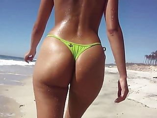 Topless Thong Ass On The Beach