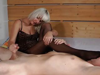 Blonde Footjob In Black Pantyhose