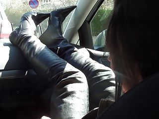 Rich Bitch In The Car Nude Under Trench And Thigh High Boots