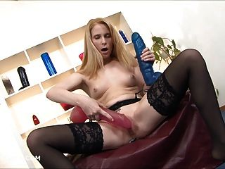 Blonde With Two Brutal Dildos