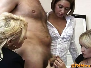 Cfnm Office Femdom Babes Wanking Dude