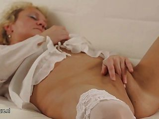 Blonde Mature Slut Mom Masturbate Alone