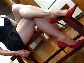 Mature Feet And Red Heels Dangle