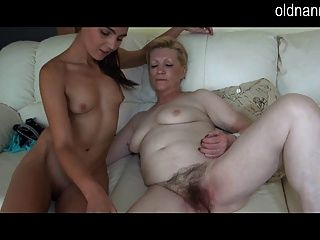 Granny Enjoys New Toy With Young Girl