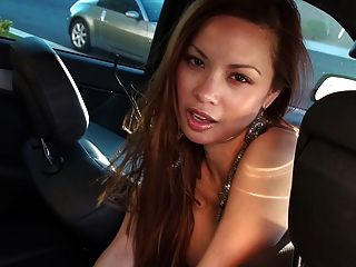 Francine Dee Strips In Car! Big Boobs!