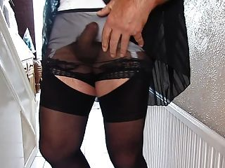 Black Pleated Dress And See Through Panties