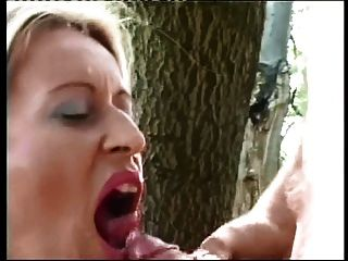 Dutch Blonde Milf Facial In A Forest