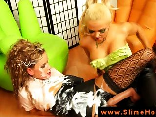 Femdom Lesbians Uses Strapon To Dominate