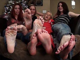 4 Girl Sockfoot Tease