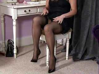 Mature Blond Stockings Flashing.