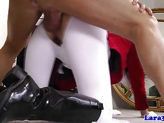British Mature In Riding Costume Wants Bikers Cock
