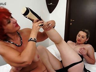 Hot Babe And Red Mature Slut Having Great Lesbian Sex