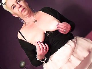 Slut Granny In Leather Boots With Dildo