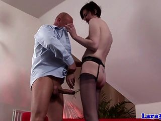 Stocking Wearing Euro Mature Spanked Before She Is Fucked