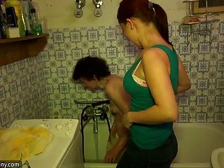 Granny And Stepgranddaughter Bathe In The Tub