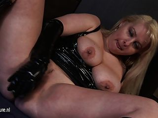 Hot Blonde Milf In Latex Playing With Herself