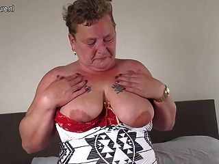 Dutch Granny Playing With Her Shaved Pussy