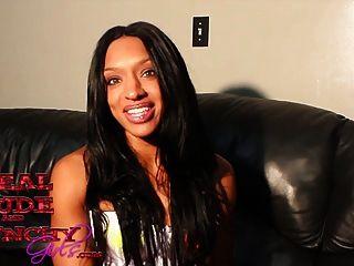 Ebony Newcomer Bianca Moore Is A Hot Cum Guzzler