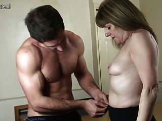 Granny Fucked By Young Dude Into Pierced Cunt