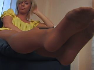 Cute Blonde Delicious Pantyhose Feet 2