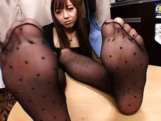Black Pantyhose Foot Tease 4