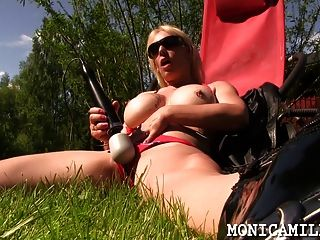 Monicamilf And The Doxy Massager Outdoors In Norway