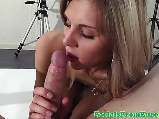 Skinny Blonde Euro Teen Sucking Cock