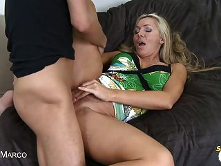 Blonde Milf Gets Sprayed In The Face With Cum!