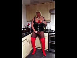 Chrissie Smokes And Strokes In The Kitchen