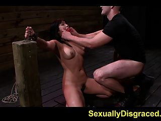 Mia Li Bound And Chained On Floor While Rubbed With A Vibrat