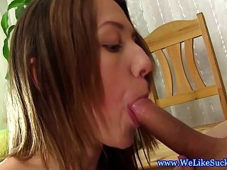 Blowjob Loving Euro Brunette Gives Bj