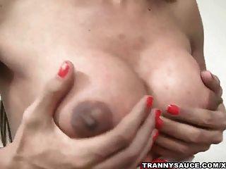 Tasty Brunette Shemale Hottie Strips And Masturbates