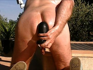 Anal Fisting And Big Toys Near The Pool