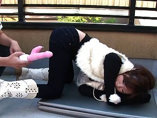 Having A Ping Fuck Toy In Her Pussy Outdoors Is What Turns  Her On