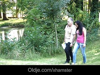 Young Brunette Fucks A Foreign Older Guy In Her Yard