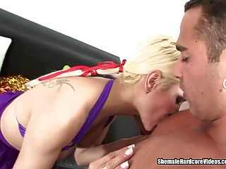 Tgirl Cheerleader Does A Jock