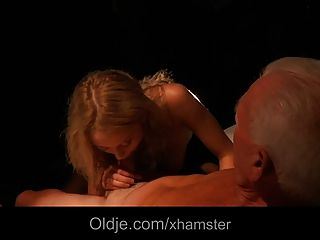 Young Blonde With Big Natural Boos In Lingerie Fucks Oldman