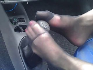 Pretty Nylon Feet Rubbing Gear Shift