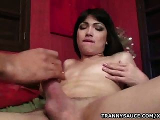 Foxy Shemale Sandy Lopes Sucks On A Hard Cock