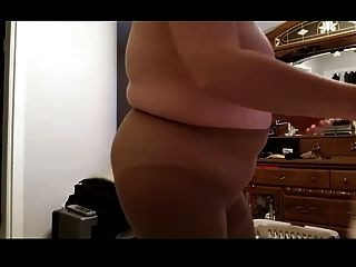 Wife Getting Dressed, Panty Hoes & Girdle Over Big Tits
