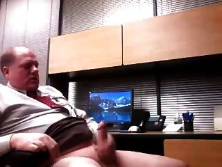 Older Executive Dad Jacking Off At The Office