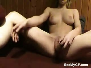 Girlfriend Toying Her Pussy With Huge Dildo