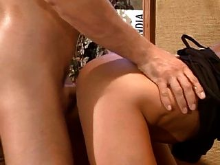 Sexy Short Haired Girl Double Penetration On A Table