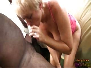 Tracy Licks......cum Covered Feet With Black Cock