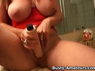 Busty Blonde Violet Masturbating In The Bathroom
