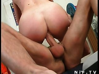 French Blonde Gets Her Tight Ass Fucked At Gym
