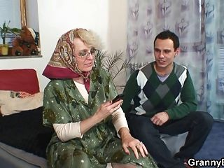 Lonely Granny Sucks His Cock