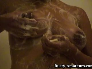 Busty Chick Gia Playing Her Hairy Pussy On The Shower