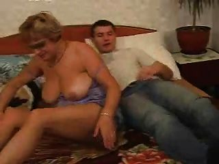 Granny With Young Men Fuck In Bed