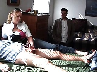 Hot Blonde Jerks Her Boyfriend